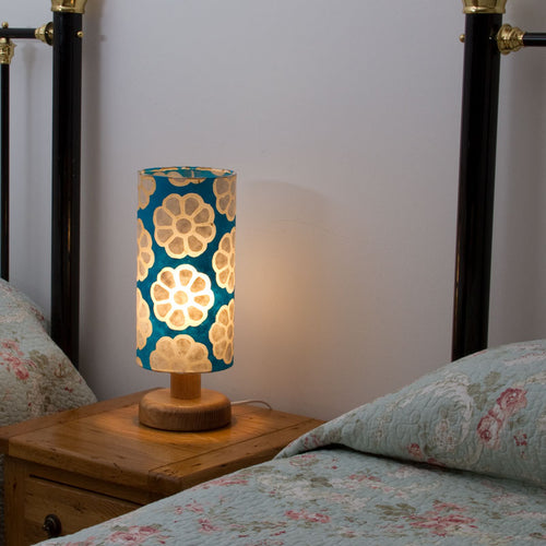 Round Oak Table Lamp (15cm) with 15cm x 30cm Lamp Shade in Batik Big Flowers Teal P23