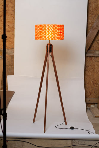 Sapele Tripod Floor Lamp - P03 - Batik Orange Circles