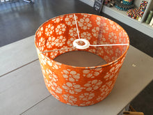 Oval Lamp Shade - P94 - Batik Star Flower on Orange, 40cm(w) x 30cm(h) x 30cm(d)
