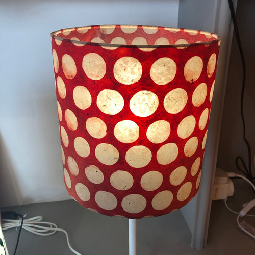 Drum Lamp Shade - P84 ~ Batik Dots on Red, 20cm(d) x 20cm(h)