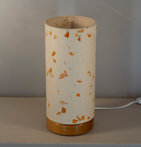 Flat Round Oak Table Lamp with 15cm x 30cm Lampshade in P32 ~ Marigold Petals