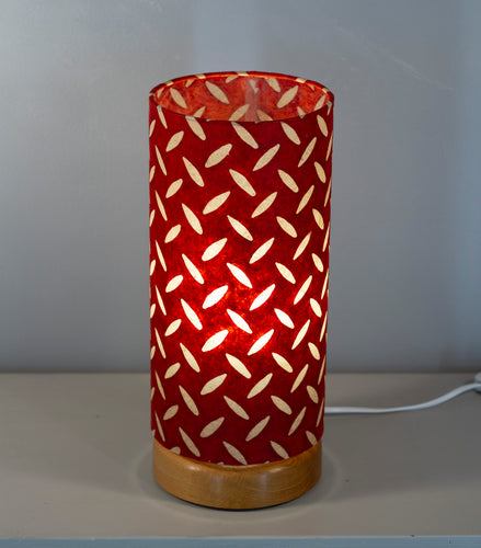 Flat Round Oak Table Lamp with 15cm x 30cm Lampshade in P90 ~ Batik Tread Plate Red