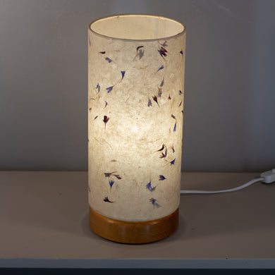 Flat Round Oak Table Lamp with 15cm x 30cm Lampshade in P34 ~ Cornflower Petals