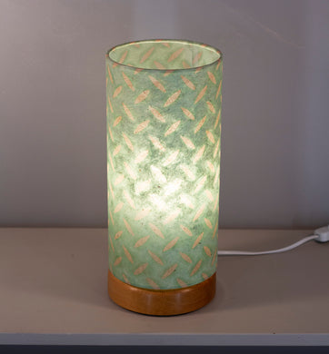 Flat Round Oak Table Lamp with 15cm x 30cm Lampshade in P93 ~ Batik Tread Plate Seafoam