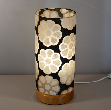Flat Round Oak Table Lamp with 15cm x 30cm Lampshade in P24 ~ Batik Big Flower on Black