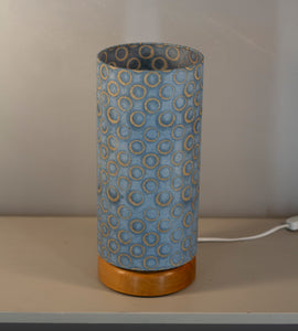 Flat Round Oak Table Lamp with 15cm x 30cm Lampshade in P72 ~ Batik Blue Circles