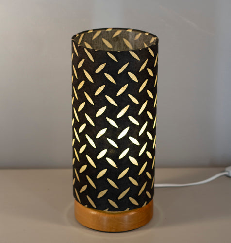 Flat Round Oak Table Lamp with 15cm x 30cm Lampshade in P11 ~ Batik Tread Plate Black