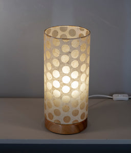 Flat Round Sapele Table Lamp with 15cm x 30cm Lampshade in P85 ~ Batik Dots on Natural
