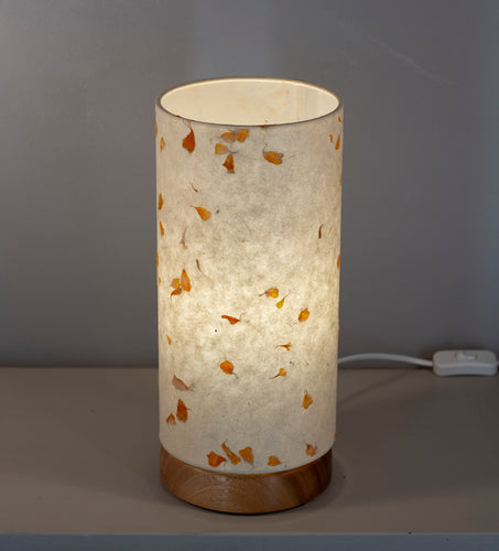 Flat Round Sapele Table Lamp with 15cm x 30cm Lampshade in P32 ~ Marigold Petals