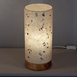 Flat Round Sapele Table Lamp with 15cm x 30cm Lampshade in P34 ~ Cornflower Petals