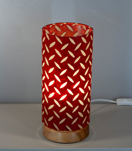 Flat Round Sapele Table Lamp with 15cm x 30cm Lampshade in P90 ~ Batik Tread Plate Red