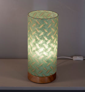 Flat Round Sapele Table Lamp with 15cm x 30cm Lampshade in P93 ~ Batik Tread Plate Seafoam