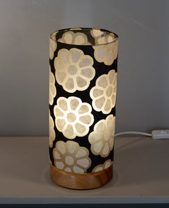 Flat Round Sapele Table Lamp with 15cm x 30cm Lampshade in P24 ~ Batik Big Flower on Black