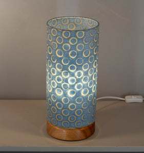 Flat Round Sapele Table Lamp with 15cm x 30cm Lampshade in P72 ~ Batik Blue Circles