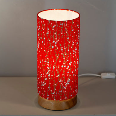 Flat Round Sapele Table Lamp with 15cm x 30cm Lampshade in W01 ~ Red Daisies