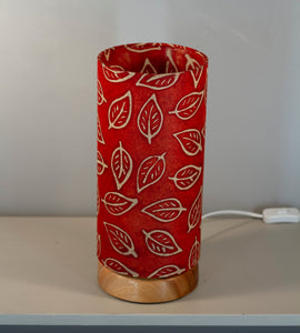 Flat Round Sapele Table Lamp with 15cm x 30cm Lampshade in P30 ~ Batik Leaf on Red