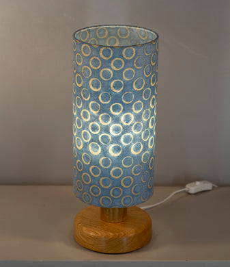 Round Oak Table Lamp with 15cm x 30cm Lampshade in P72 ~ Batik Blue Circles