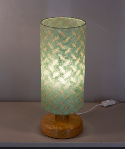 Round Oak Table Lamp with 15cm x 30cm Lampshade in P93 ~ Batik Tread Plate Seafoam