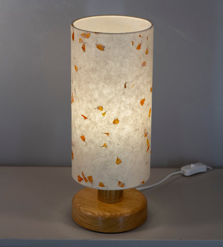 Round Oak Table Lamp with 15cm x 30cm Lampshade in P32 ~ Marigold Petals