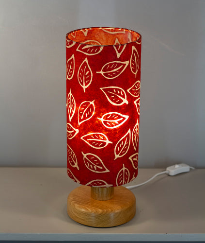 Round Oak Table Lamp with 15cm x 30cm Lampshade in P30 ~ Batik Leaf on Red