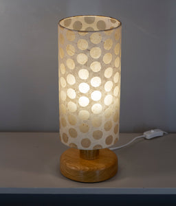 Round Oak Table Lamp with 15cm x 30cm Lampshade in P85 ~ Batik Dots on Natural