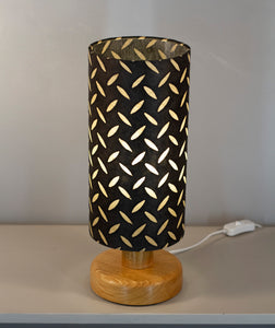 Round Oak Table Lamp with 15cm x 30cm Lampshade in P11 ~ Batik Tread Plate Black
