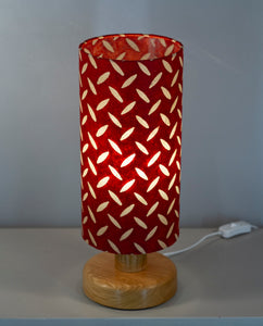 Round Oak Table Lamp with 15cm x 30cm Lampshade in P90 ~ Batik Tread Plate Red