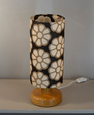 Round Oak Table Lamp with 15cm x 30cm Lampshade in P24 ~ Batik Big Flower on Black