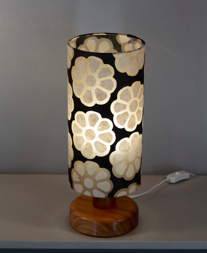 Round Sapele Table Lamp with 15cm x 30cm Lampshade in P24 ~ Batik Big Flower on Black