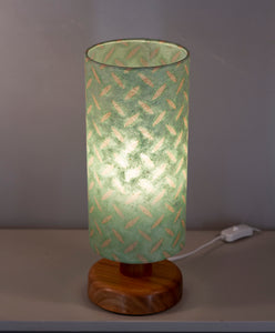 Round Sapele Table Lamp with 15cm x 30cm Lampshade in P93 ~ Batik Tread Plate Seafoam