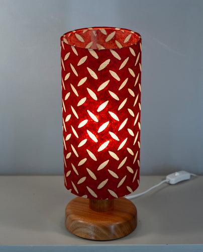Round Sapele Table Lamp with 15cm x 30cm Lampshade in P90 ~ Batik Tread Plate Red