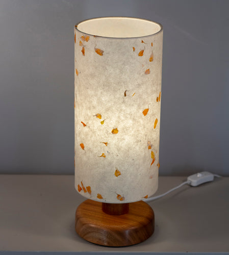 Round Sapele Table Lamp with 15cm x 30cm Lampshade in P32 ~ Marigold Petals