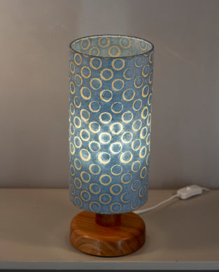 Round Sapele Table Lamp with 15cm x 30cm Lampshade in P72 ~ Batik Blue Circles