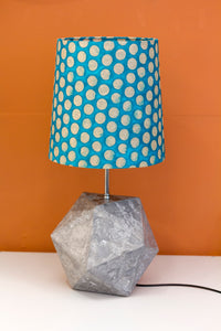 Icosahedron Grey Table Lamp with a Cyan Dots French Drum Lamp Shade