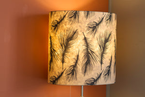 Square Lamp Shade - B102 - Black Feather, 40cm(w) x 20cm(h) x 40cm(d)