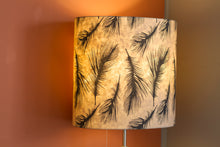 Oval Lamp Shade - B102 - Black Feather, 20cm(w) x 30cm(h) x 13cm(d)