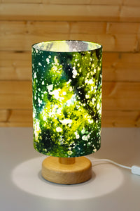Round Wooden Table Lamp with 20cm x 30cm Lamp Shade in B114 ~ Batik Canopy Greens
