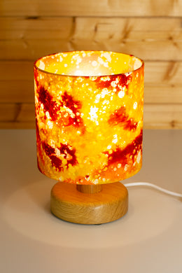 Round Wooden Table Lamp with 20cm x 20cm Lamp Shade in B112 ~ Batik Lava Red/Orange