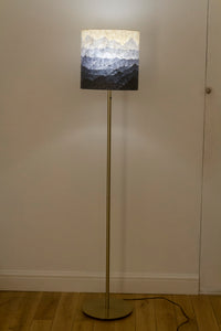 Original Ink Sketch Lamp Shade on a Brass Effect Floor Lamp