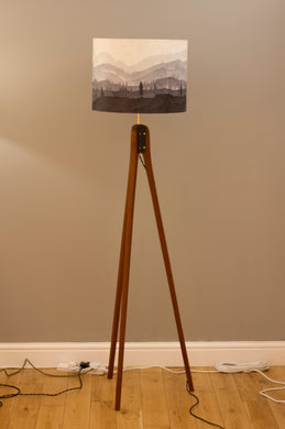 Original Ink Sketch Lamp Shade on a Sapele Tripod Floor Lamp