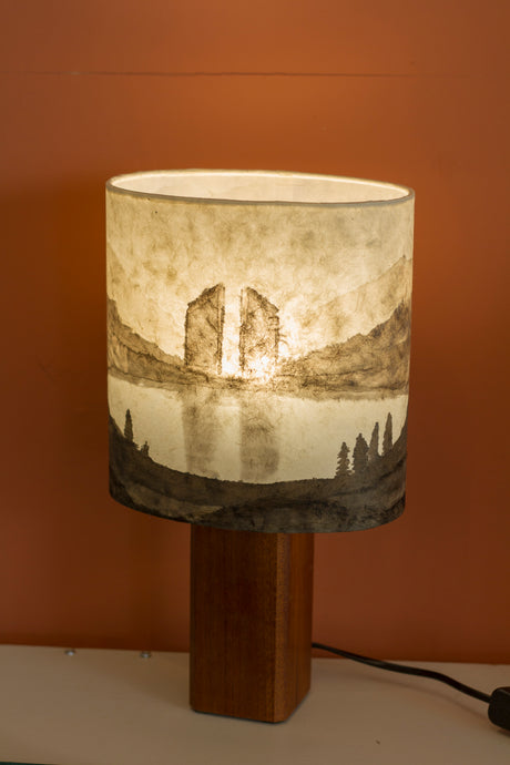 Original Ink Sketch Lamp Shade on a Sapele Square Table Lamp