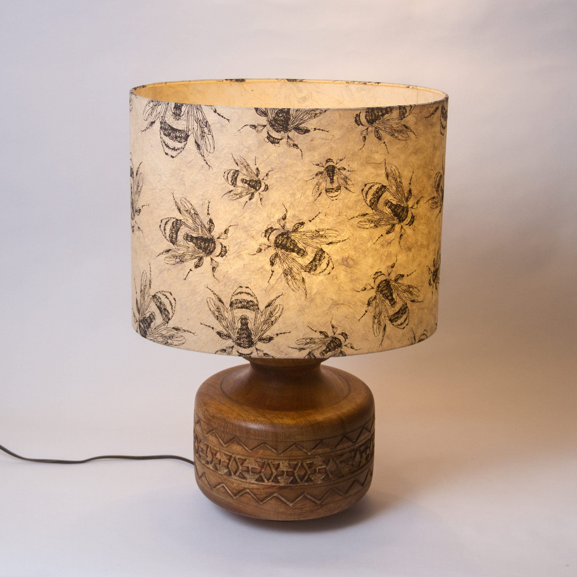Kanpur Carved Wooden Table Lamp Base With Oval Lamp Shade P42 40cm Wi Imbue Lighting
