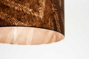 Drum Lamp Shade - P26 - Resistance Dyed Brown Fern, 35cm(d) x 20cm(h)