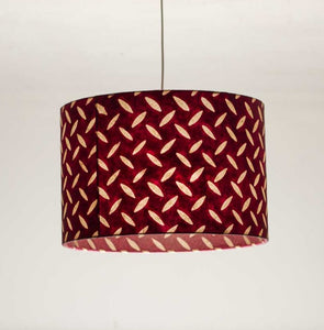Drum Lamp Shade - P14 - Batik Tread Plate Cranberry, 30cm(d) x 20cm(h) - Imbue Lighting