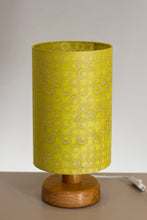 Round Wooden Table Lamp with 20cm x 30cm Lamp Shade in P02 ~ Batik Lime Circles