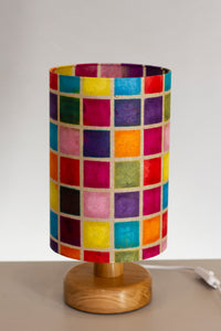 Round Wooden Table Lamp with 20cm x 30cm Lamp Shade in P01 ~ Batik Multi Square