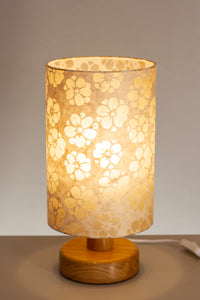 Round Wooden Table Lamp with 20cm x 30cm Lamp Shade in P75 - Batik Star Flower Natural