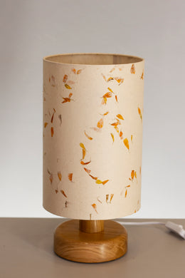 Round Wooden Table Lamp with 20cm x 30cm Lamp Shade in P32 ~ Marigold Petals