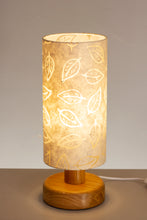 Round Wooden Table Lamp with 15cm x 30cm Lamp Shade in (P28) Batik Leaf on Natural