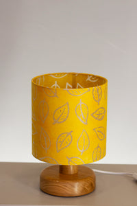 Round Wooden Table Lamp with 20cm x 20cm Lamp Shade in B107 ~ Batik Leaf Yellow